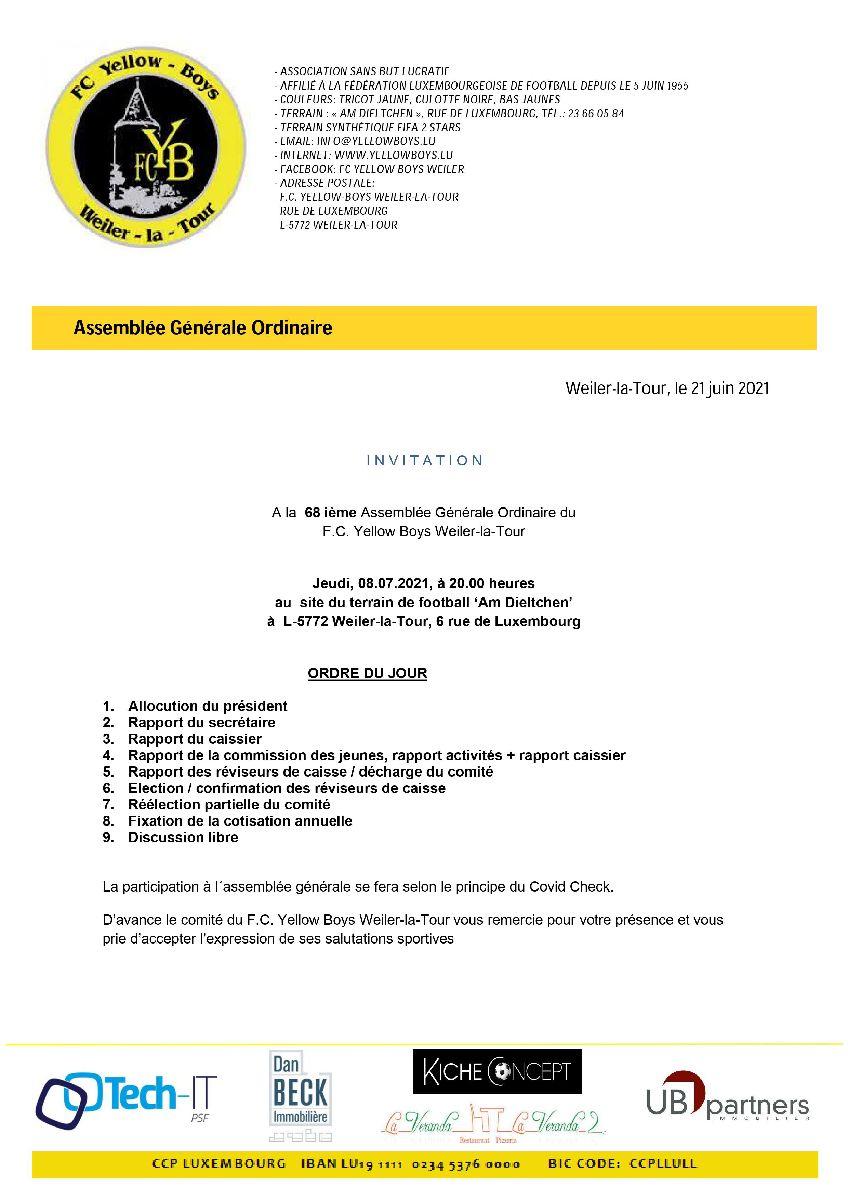 68 ième Assemblée Générale Ordinaire du F.C. Yellow Boys Weiler-la-Tour