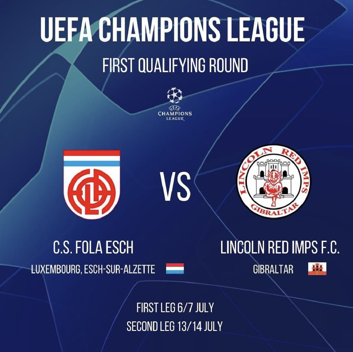Uefa Champions League - CS Fola Esch vs Lincoln Red Imps