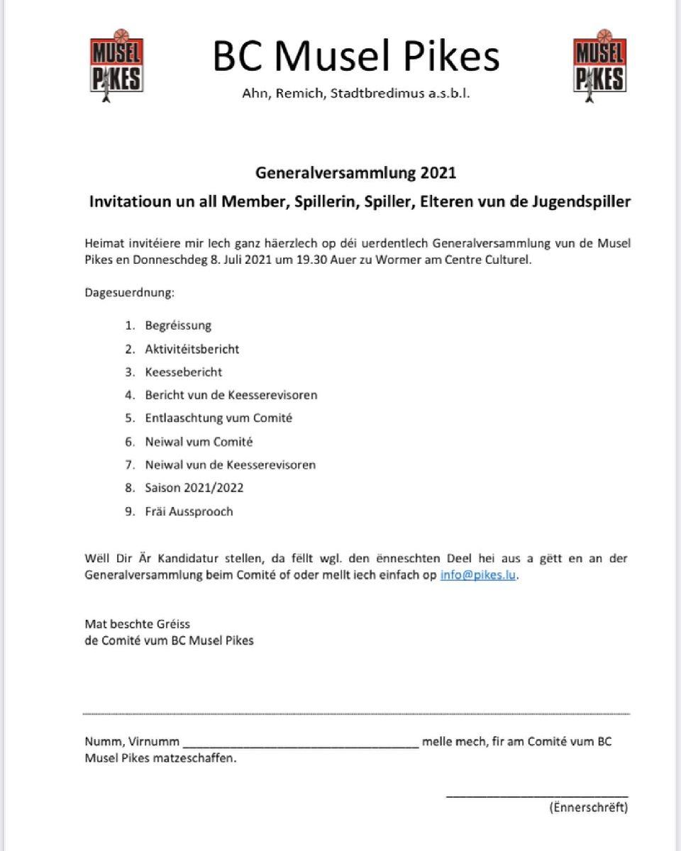 Pikes Generalversammlung 2021