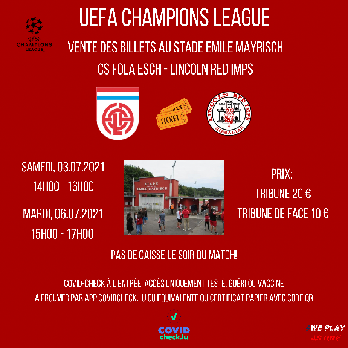 Ticket Information CS Fola - Red Imps