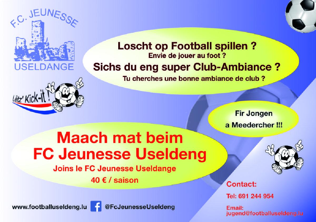 JUGEND VUM FOOTBALL USELDENG - KOMM A MAACH MAT !