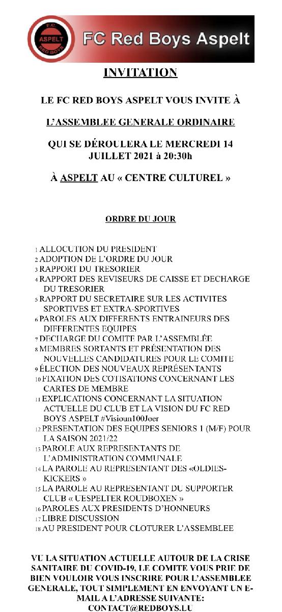 Generalversammlung Red Boys Aspelt