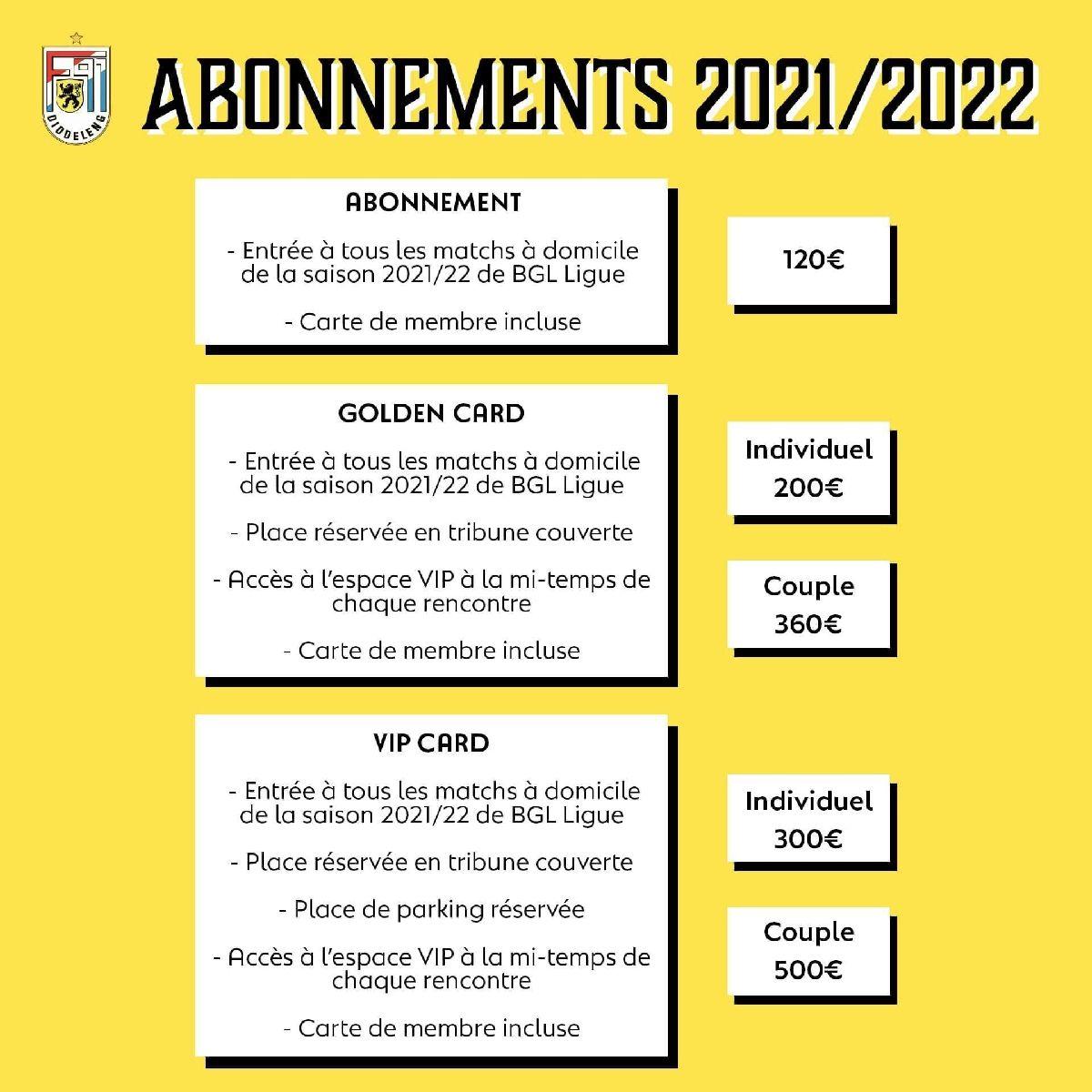 Abonnements Saison 2021/2022, c'est parti !