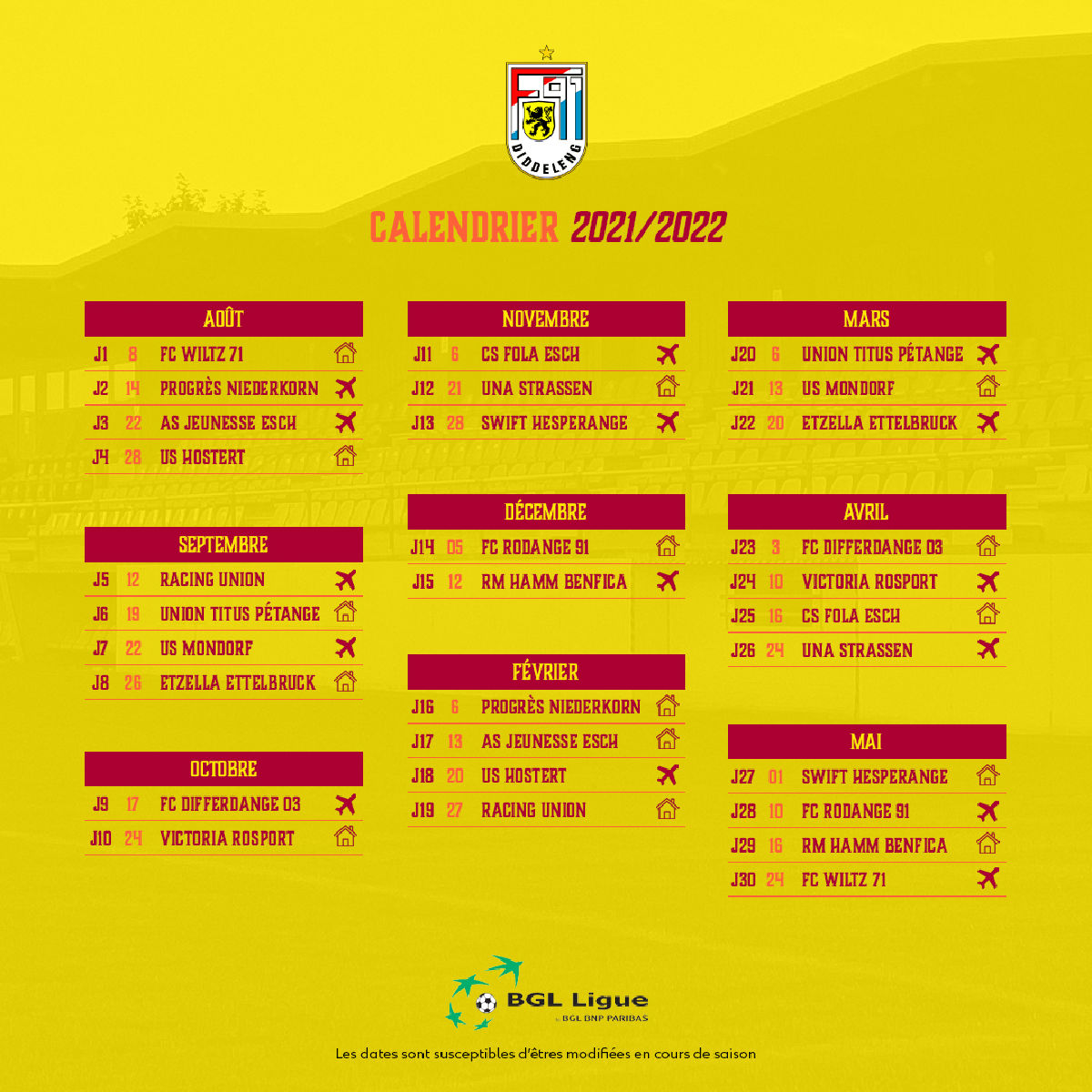 Calendrier BGL Ligue 2021/2022