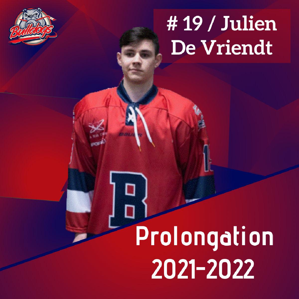Prolongation pour Julien De Vriendt et les Bulldogs de Liège