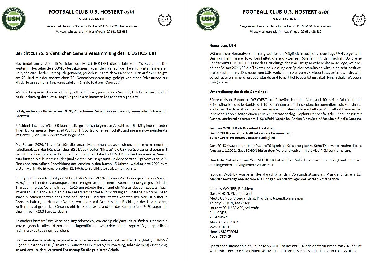 Bericht GV USH 2021 (25.6.2021) + Comité 2021/22