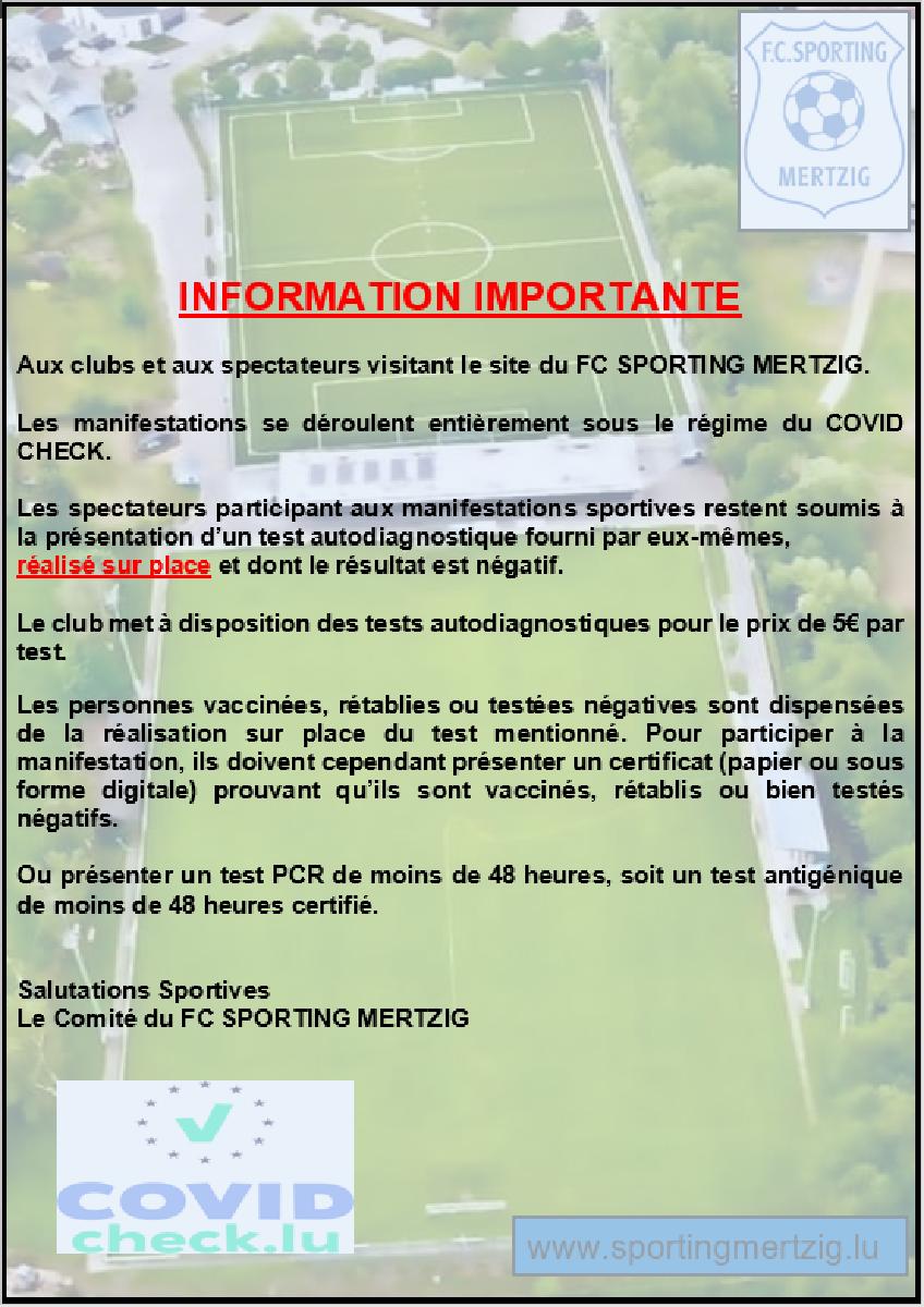Information Importante concernant les matchs sur le site du FC SPORTING MERTZIG