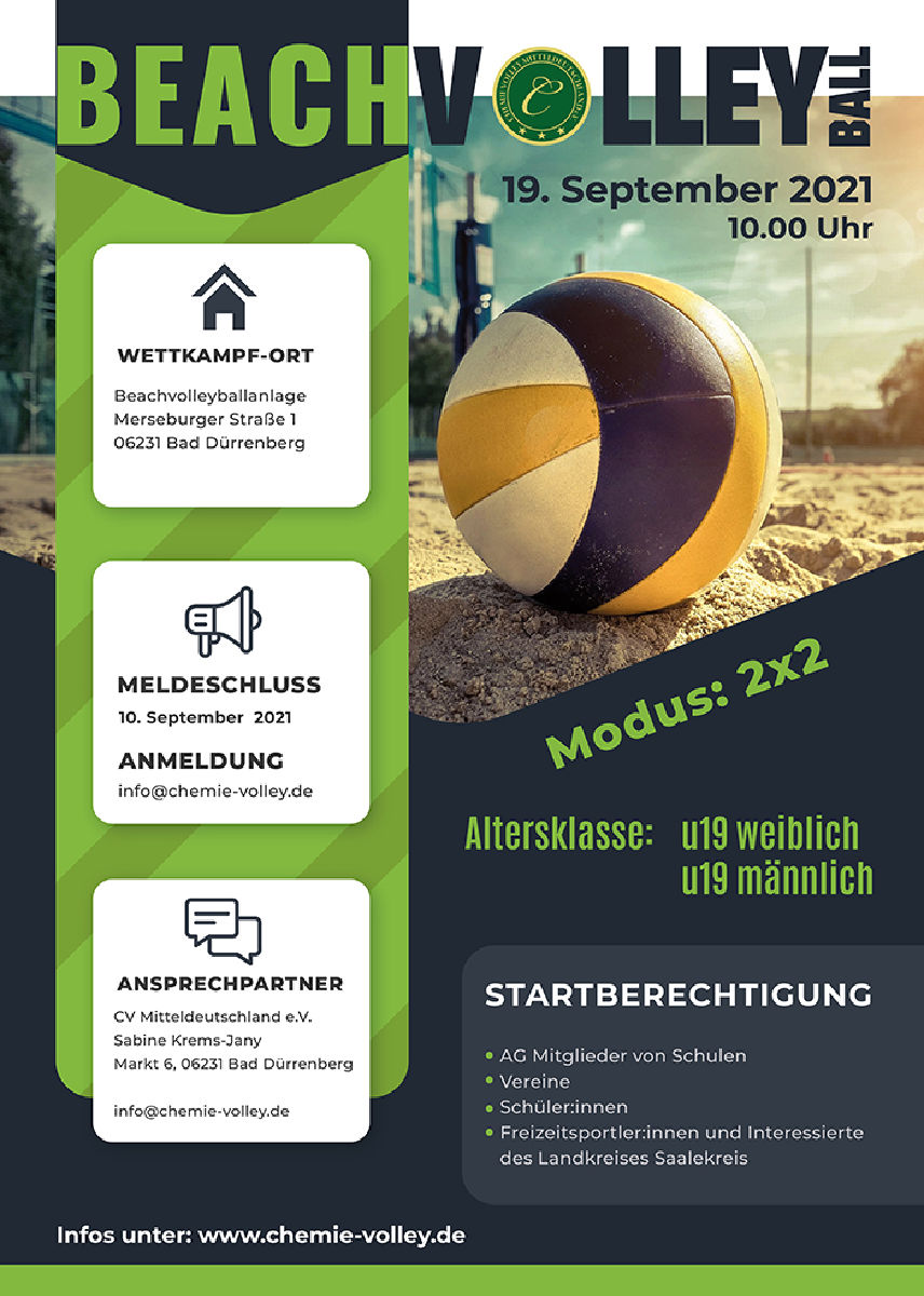 +++Anmeldung Beachvolleyball U19m/w - Kreis- Kinder- und Jugendspiele 2021+++