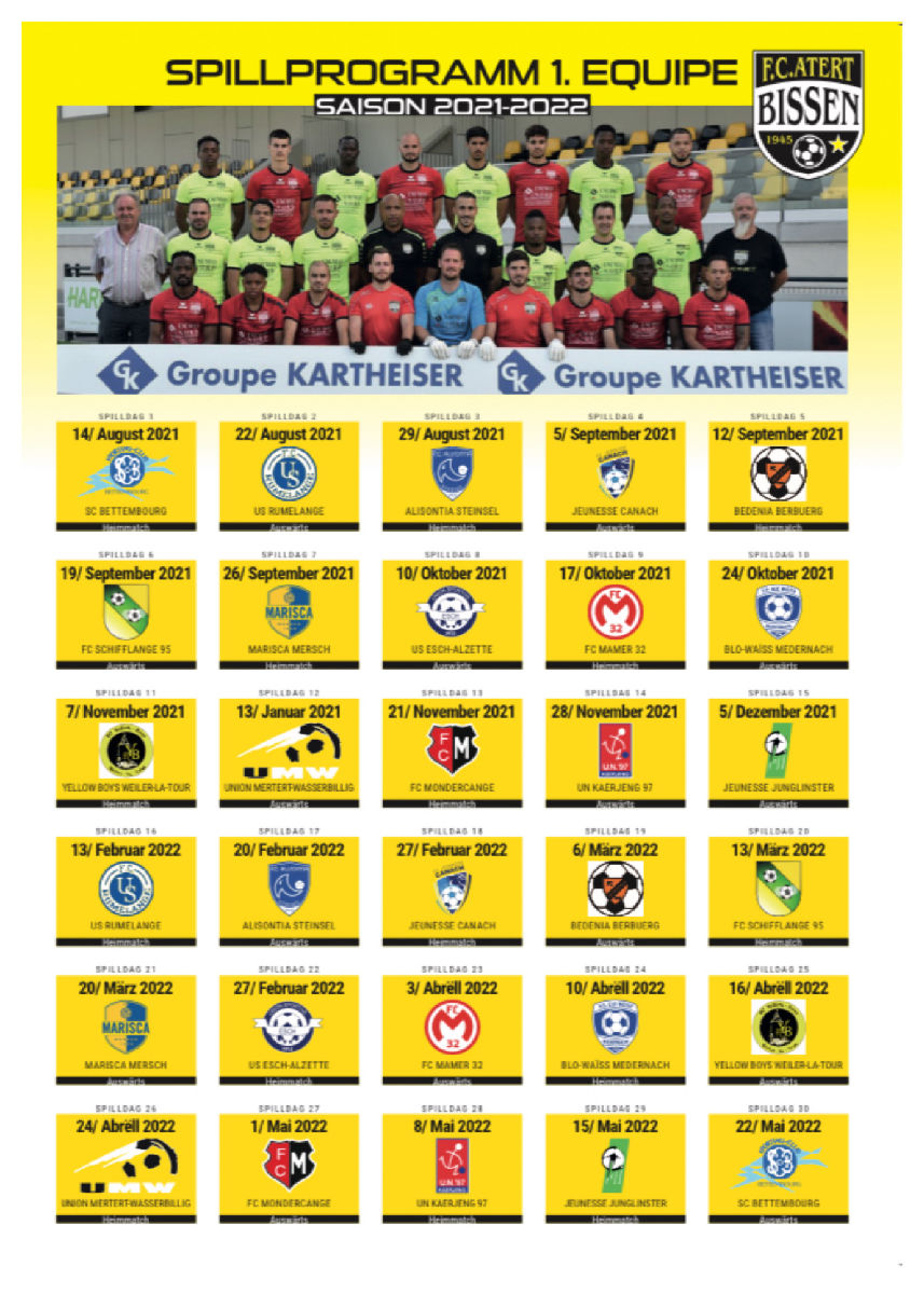 Programme 1.Equipe Saison 2021-2022