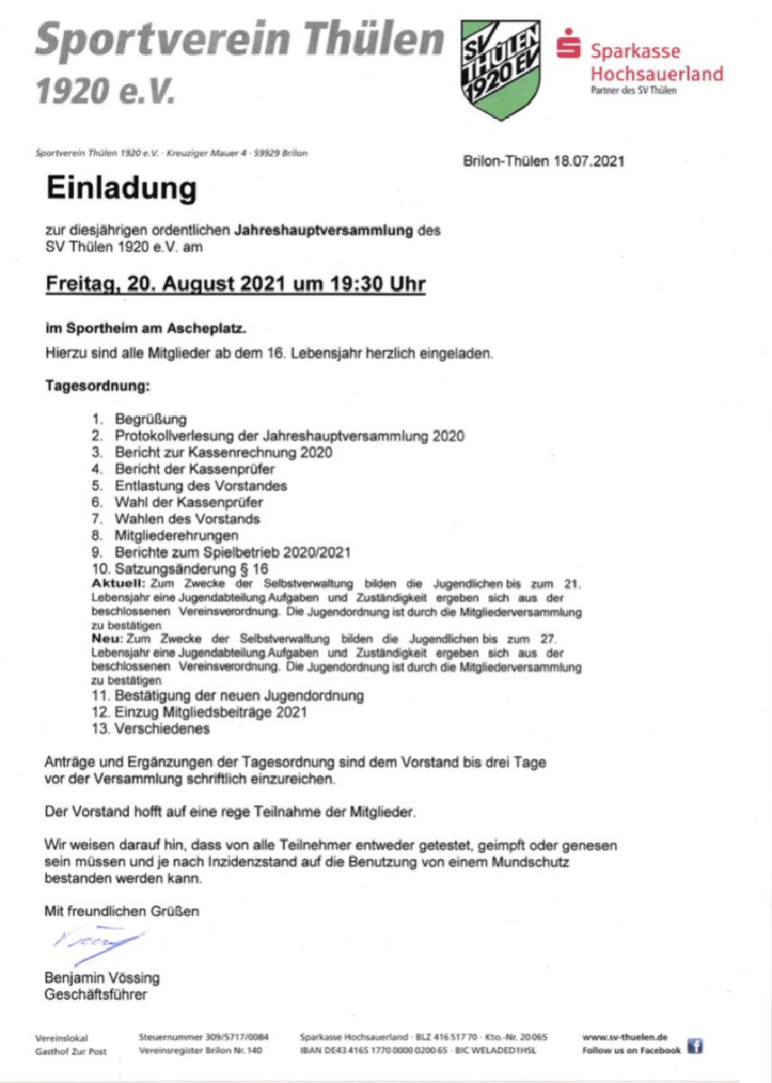 Generalversammlung am 20.08.21 im Sportheim