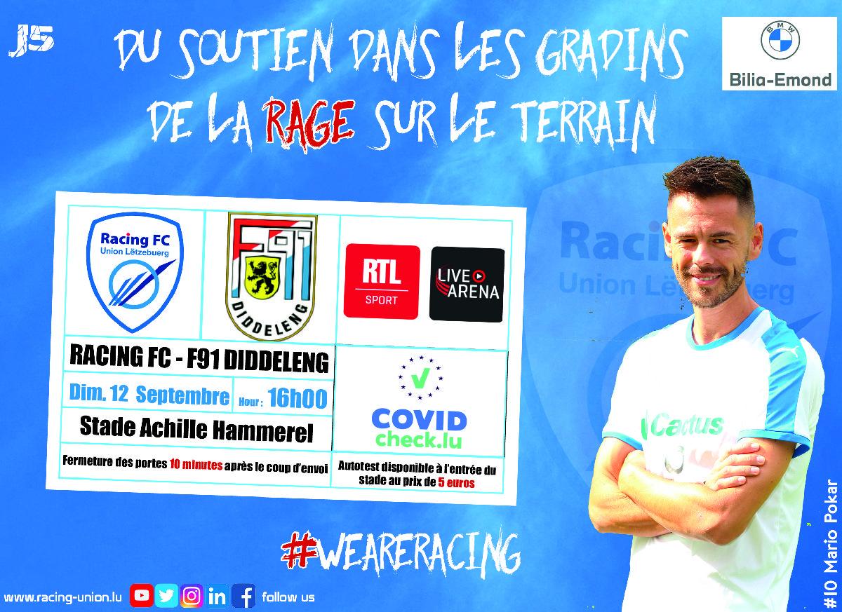 Racing FC vs F91 Diddeleng : le choc de la 5e journée !