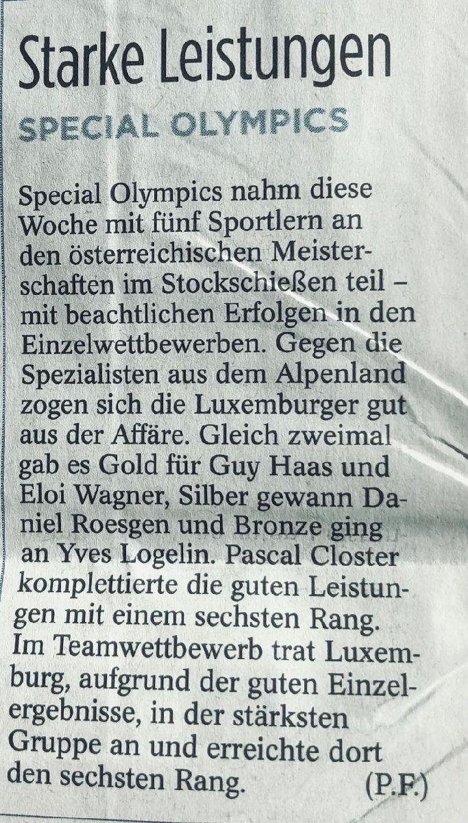 Eis Athlete waren dëser Deeg och an Eisterreich am Asaz an dat mat vill Begeeschterung a groussem Erfolleg.