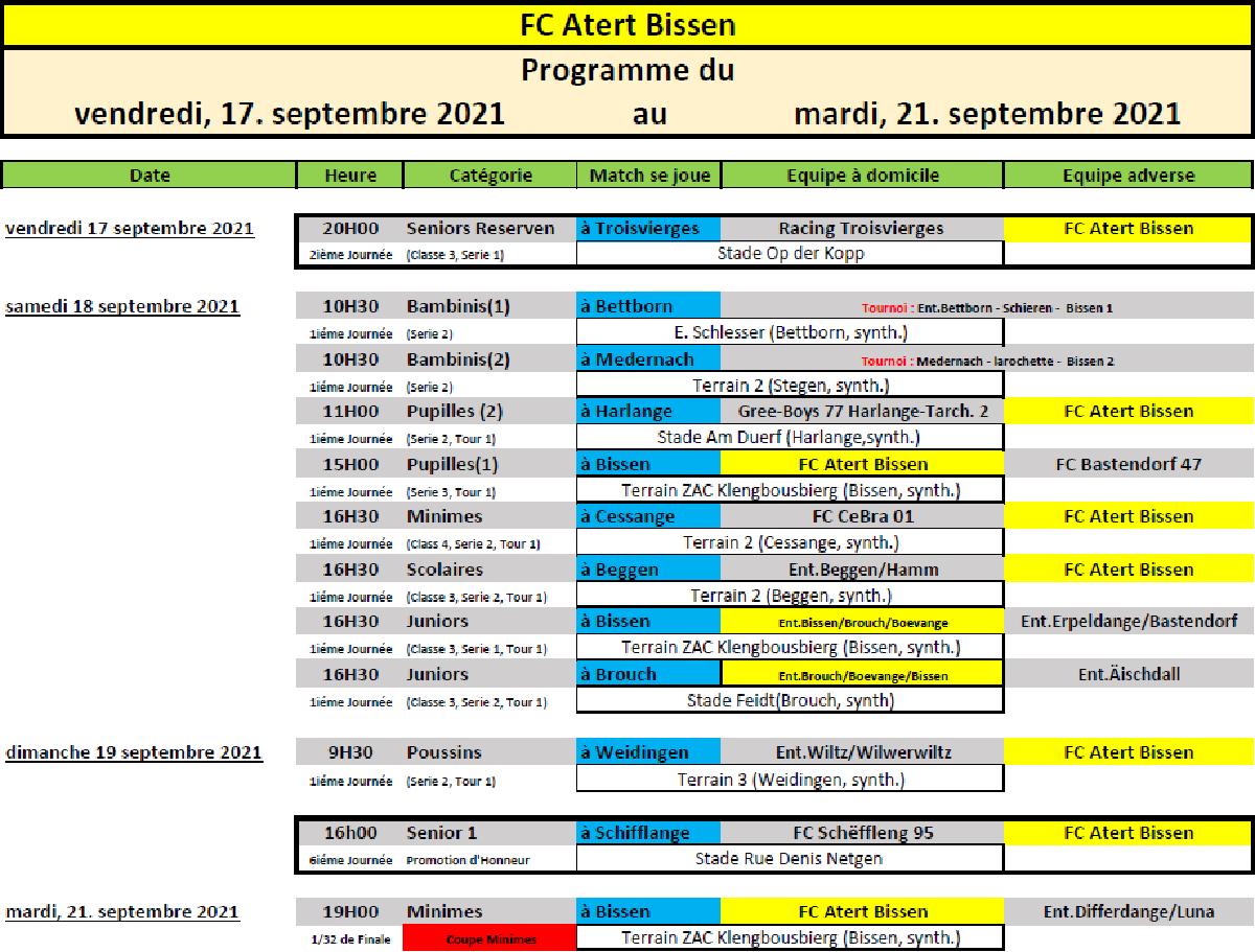 WK 17-21 September: Programme vum FC Atert Bissen sengen Equippen