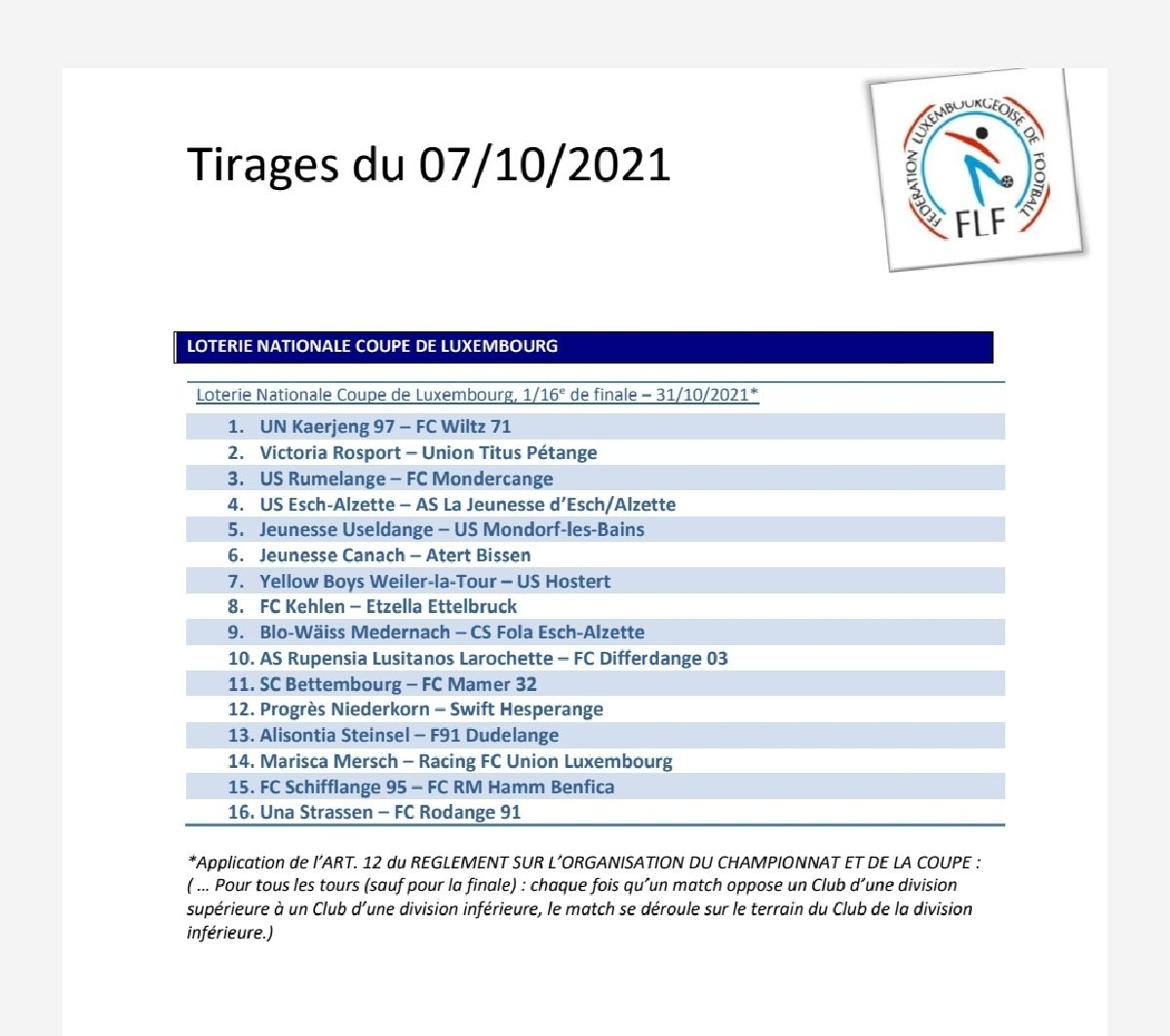 Tirage Coupe de Luxembourg