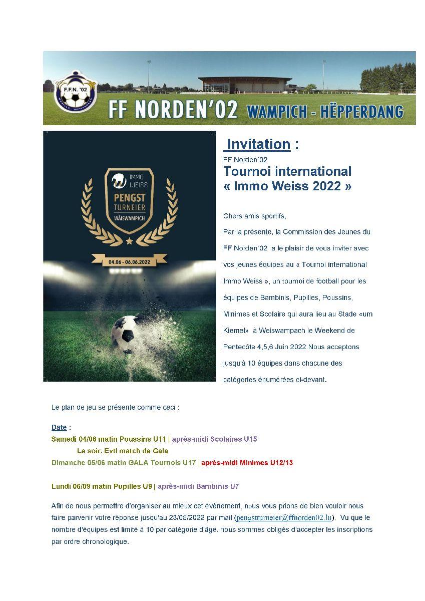 Immo Weiss - Pengstturnéier 2022 - Tournoi Immo Weiss de Pentecôte 2022