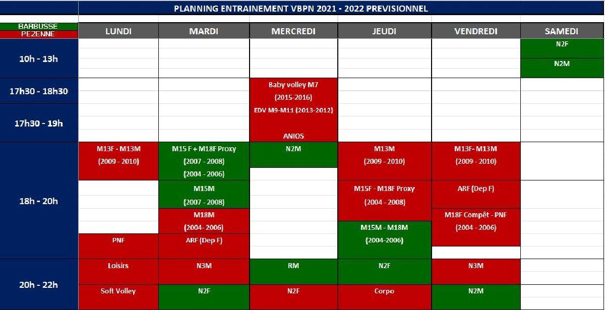 NOUVEAU PLANNING DES ENTRAINEMENTS 2021-2022