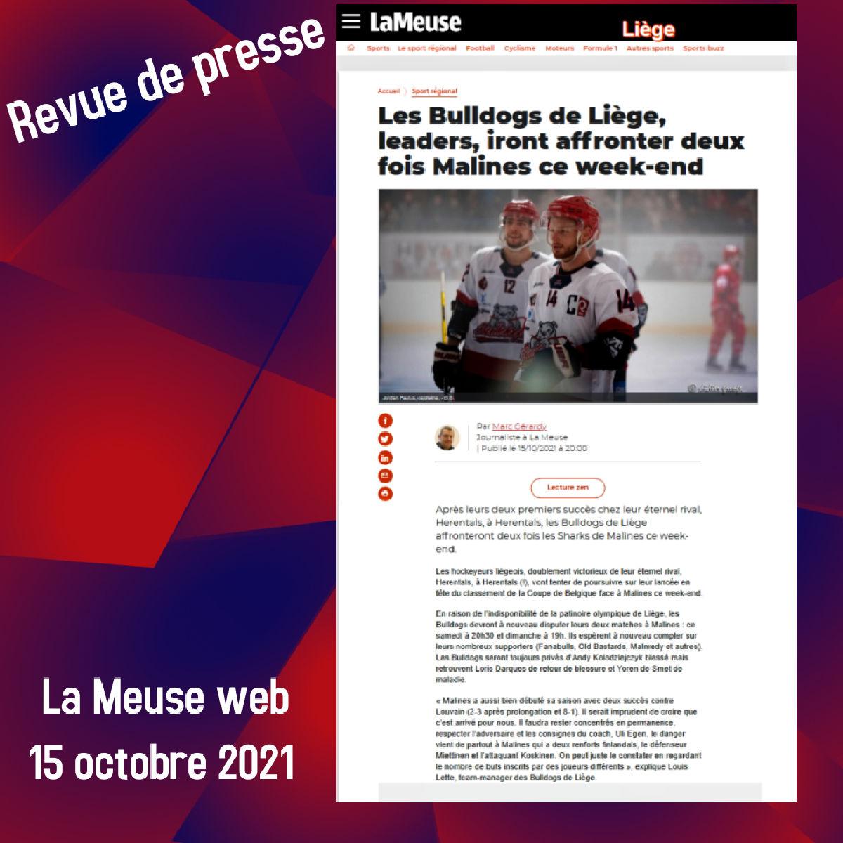La Meuse web 15 octobre 2021