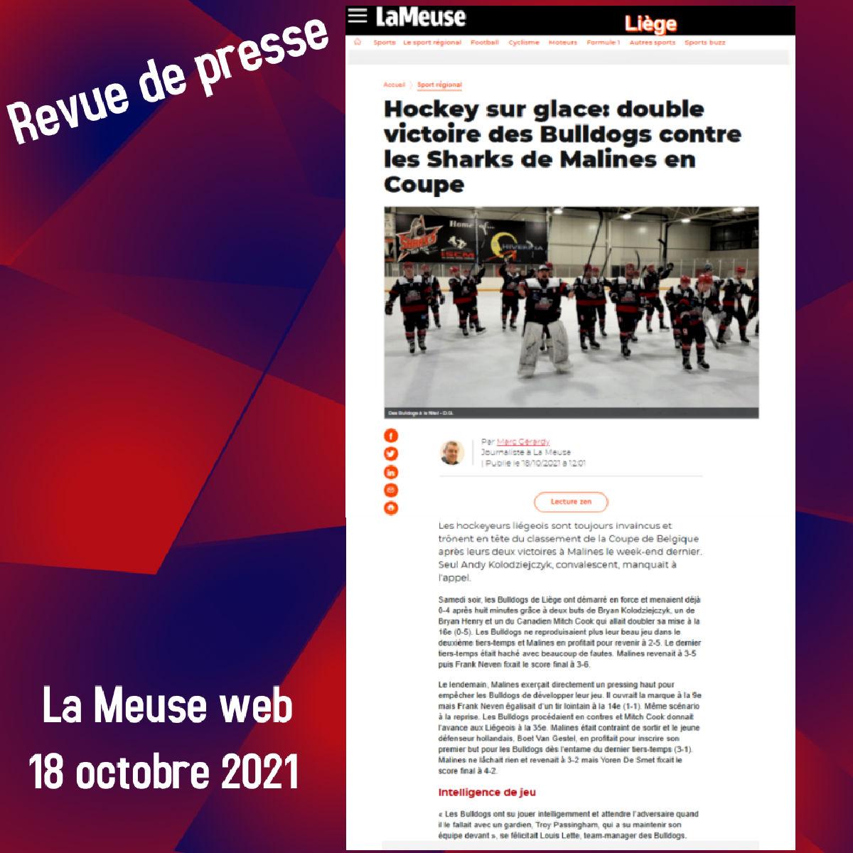 Revue de presse - La Meuse web 18 octobre 2021